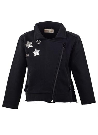 Silversun Kids Yıldız Baskılı Pul Işlemeli Önden Fermuar Kapamalı Cepli Kız Çocuk Sweatshirt Jm 214998 Siyah